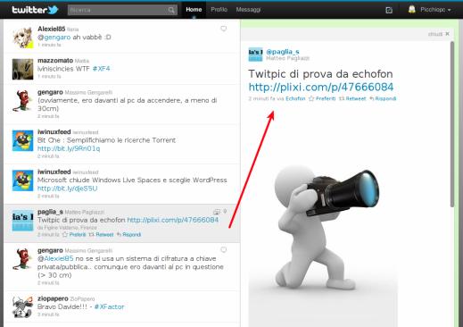 tipico esempi di visualizzazione delle foto sulle pagine di twitter