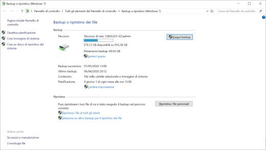 Windows punto di ripristino NAS